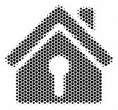 Halftone Hexagon Home Keyhole Icon. Pictogram On A White Background. Vector Mosaic Of Home Keyhole I poster