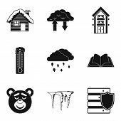 Warm House Icons Set. Simple Set Of 9 Warm House Vector Icons For Web Isolated On White Background poster