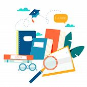 Education, Online Training Courses, Distance Education Vector Illustration. Internet Studying, Onlin poster