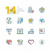 Likes - Set Of Line Design Style Icons Isolated On White Background. High Quality Minimalistic Color poster