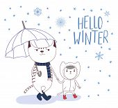 Hand Drawn Vector Illustration Of Cute Cats In Boots, Big Holding Umbrella, Little In Coat, Under Fa poster