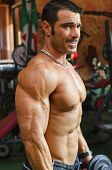Man Working Out At The Gym, Side View Of Muscular And Ripped Chest, Pecs And Arm Muscles poster