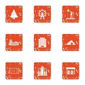 Borough Icons Set. Grunge Set Of 9 Borough Vector Icons For Web Isolated On White Background poster