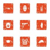 Crime Challenge Icons Set. Grunge Set Of 9 Crime Challenge Vector Icons For Web Isolated On White Ba poster
