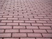 Cobbled Pavement Path. The Path Is Paved With Gray Brick. A Photo. poster