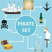 Pirate Set, A Set Of Pirate Objects. Attributes Of The Pirate. Flat Design, Vector Illustration, Vec poster