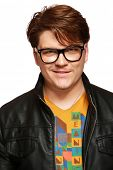 stock photo of average man  - Casual average jo man in leather jacket and glasses isolated - JPG