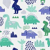 Hand Drawn Dinosaurs Seamless Pattern. Creative Childish Background With Cute Dino For Fabric, Texti poster