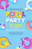 Summer Pool Party, Vector Poster, Banner Layout. Unicorn, Flamingo, Duck, Ball, Donut Cute Floats In poster