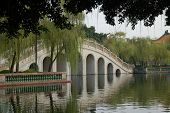 Ancient Bridge With Willow Trees poster