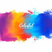 Watercolor Background Hand Paint Splash In Many Colors poster