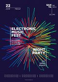 Electronic Music Party Poster. Trendy Club Party Flyer Modern Gradients Minimalist Style. Dance Fest poster