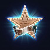 Now Showing Movie Vector Background With Hollywood Film Star. Film Movie Star, Show Light Cinema Ill poster