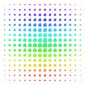 Home Keyhole Icon Spectrum Halftone Pattern. Vector Home Keyhole Objects Organized Into Halftone Gri poster