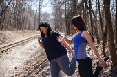 Young Fit Woman Motivate Her Overweight Friend At Outdoor Workout. Fitness, Friendship, Motivation C poster