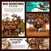 Hunting Banner Template With Wild Animal And Bird Sketch. Forest Deer, Duck And Bear, Wolf, Reindeer poster
