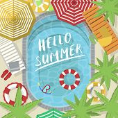 Hello Summer Banner With Water Pool. Summer Time Concept, Family Beach Vacation Vector Illustration. poster