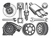 Monochrome Pictures Of Engine, Turbocharger Cylinder And Other Automobile Tools. Automobile Engine,  poster