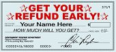 A tax refund check that you can receive early by using a tax return filing service that promises ins