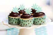 stock photo of sugar paste  - Chocolate cupcakes - JPG