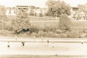 Blurred Image Group Of Caucasian Young People Playing Outdoor Volleyball In Summer At Urban Park In  poster