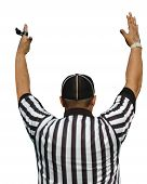 picture of referee  - Football referee holding his arms up showing the goal or touchdown or extra point is good