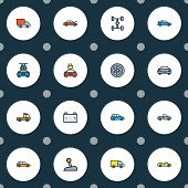 Automobile Icons Colored Line Set With Crossover, Car, Wheelbase And Other Sport  Elements. Isolated poster