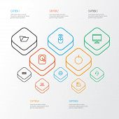 Hardware Icons Line Style Set With Microprocessor, Keyboard, Folder And Other Display  Elements. Iso poster