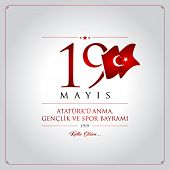 19th May, Commemoration Of Ataturk, Youth And Sports Day Turkey Celebration Card poster