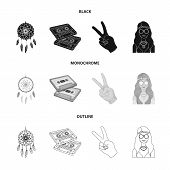 Amulet, Hippie Girl, Freedom Sign, Old Cassette.hippy Set Collection Icons In Black, Monochrome, Out poster
