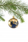 Blue And Gold Globe Christmas Ornament Showing Europe And Africa, India, Asia, Middle East poster