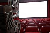 Movie projector and blank cinema screen with empty seats. Cinema, movie or home video concept backgr poster