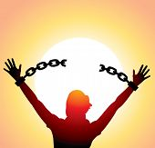 foto of shackles  - vector silhouette of a girl with raised hands and broken chains - JPG