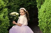 Girl Child In Green Summer Park, Spring. Bride Girl, Bridesmaid And Wedding Ceremony. Fashion, Cinde poster