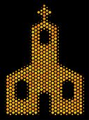 Halftone Hexagon Christian Church Icon. Bright Gold Pictogram With Honeycomb Geometric Pattern On A  poster