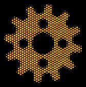 Halftone Hexagonal Cogwheel Icon. Bright Yellow Pictogram With Honeycomb Geometric Structure On A Bl poster