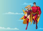 Full Length Illustration Of Happy Super Mom And Super Dad With Super Baby, Flying In The Sky. poster
