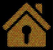 Halftone Hexagon Home Keyhole Icon. Bright Golden Pictogram With Honey Comb Geometric Pattern On A B poster