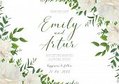 Wedding Floral Invite, Invitation, Save The Date Card Design. White Powder Garden Peony Rose Flowers poster