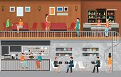 Modern Cafe Shop Interior, Coffee Shop And Interior Of Modern Bar ,decoration Style Flat Design Vect poster