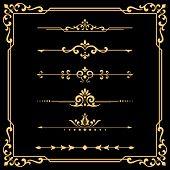 Vintage Set. Floral Gold Elements For Design Monograms, Invitations, Frames, Menus And Labels. Graph poster