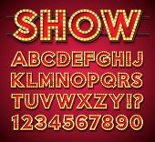 Light Bulb Alphabet With Gold Frame And Shadow On Red Backgrond. Glowing Retro Vector Font Collectio poster