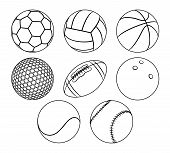 Vector Set Of Outlines Different Sport Balls Isolated On A White Background. Minimal Flat Line Icons poster