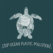 Stop Ocean Plastic Pollution Vector Illustration. World Water Day. Earth Day. poster