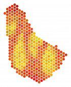 Постер, плакат: Barbados Map Vector Honeycomb Territory Plan Using Fire Color Tinges Abstract Barbados Map Composi
