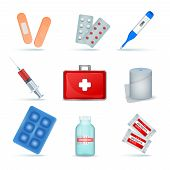 First Aid Kit Supply Emergency Medical Products Realistic Set With Elastic Bandage Antiseptic Wipes  poster