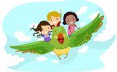 Постер, плакат: Иллюстрация детей верхом гигантская птица