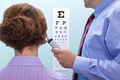 Photo of a woman at the opticians having her eyesight tested using a eye chart to see if she needs g