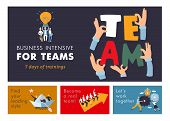 Teamwork Cooperation Management Training  For Business Efficiency And Success Advertisement Colorful poster