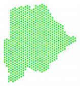 Постер, плакат: Green Botswana Map Vector Hexagonal Geographic Scheme In Green Color Variations Abstract Botswana